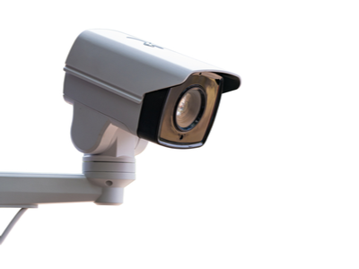 A security camera watches over a secure storage facility