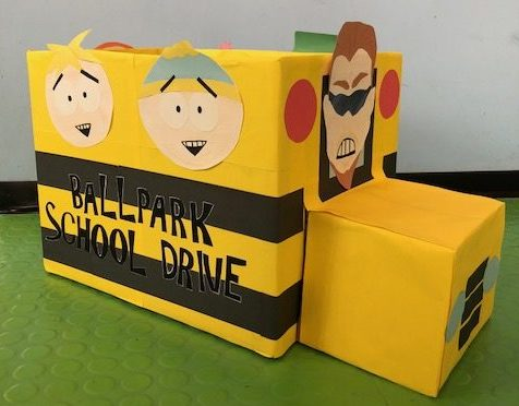Characters from South Park decorate the donation box at Ballpark Self Storage.