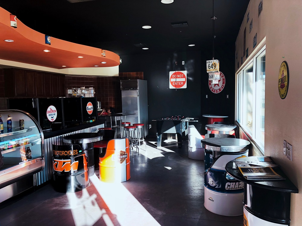 the garage theme at StaxUP Storage's cafe in Homeland, California